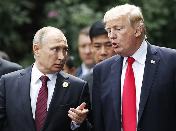 """Russian President Vladimir Putin said he and US President Donald Trump """"regularly talk over the phone"""" and that the pair ..."""