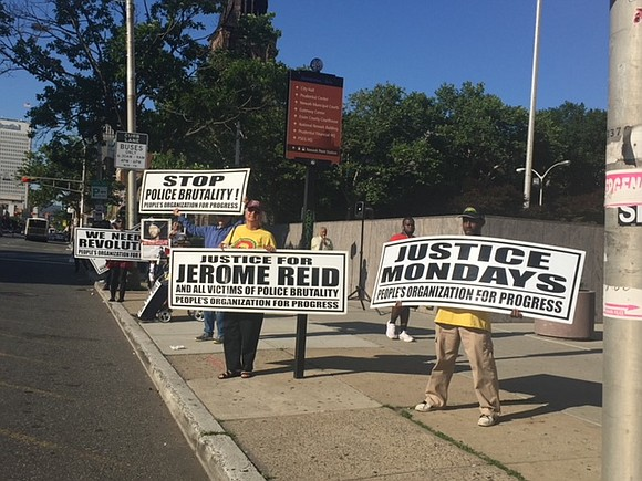 The People's Organization for Progress took their weekly Justice Monday rally to the doorstep of the Fraternal Order of Police ...