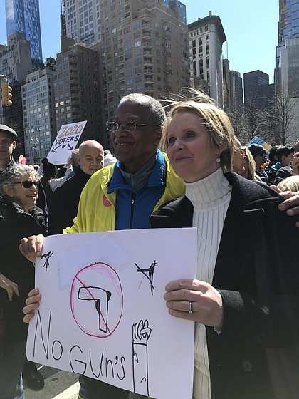 Robert Jackson and Cynthia Nixon, March for Our Lives Rally in NYC