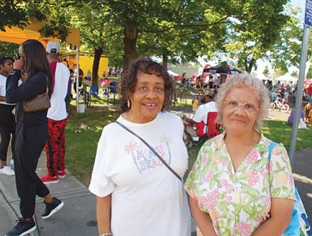 Portlanders Jeanette Carr (left) and Mildred Tarver at the bustling King School Park grounds for the 2018 festival.