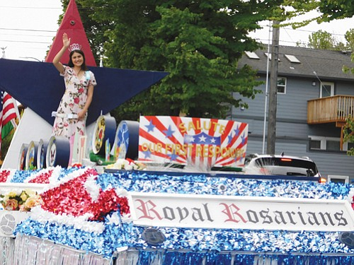 A float sponsored by Portland's Royal Rosarians, ambassadors of goodwill, salute first responders.