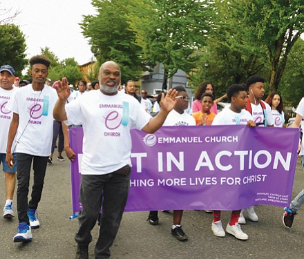 Emmanuel Temple's congregation shows out for Saturday's parade.