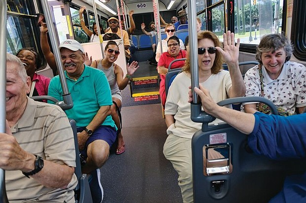 Passengers on Pulse respond to a boarding passenger's greeting. GRTC reported that 6,240 people rode the Pulse on June 24, the first day of service. On Monday, Pulse carried 8,669 passengers.