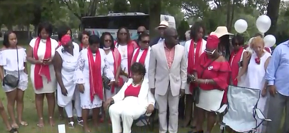 Gwen Carr, whose son Eric Garner died at the hands of NYPD officers in 2014, was joined in New Jersey ...