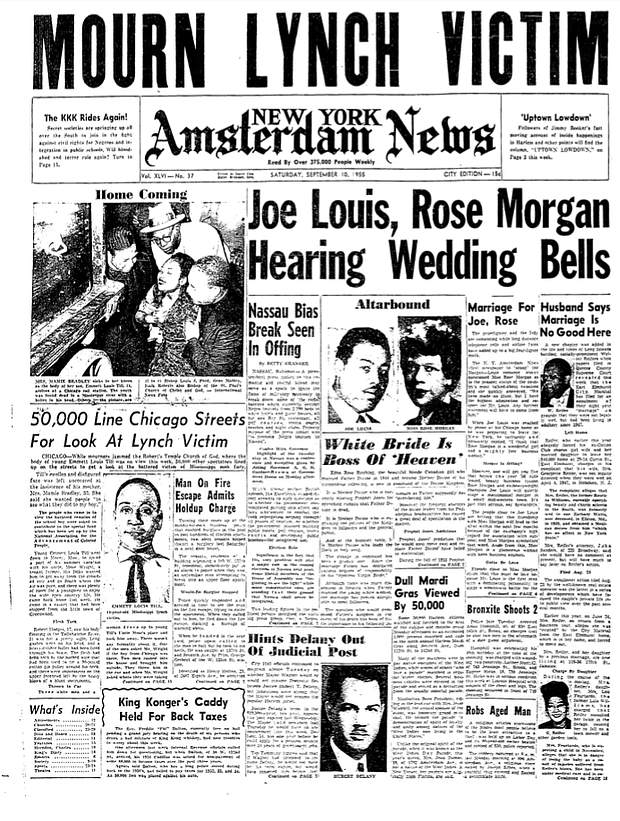 Emmett Till killing featured in the Amsterdam News on September 10, 1955