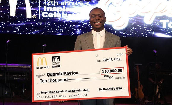 Morgan State University Freshman Quamir Payton, a first-generation college student who boasts a 3.9 GPA, has earned the first $10,000 ...