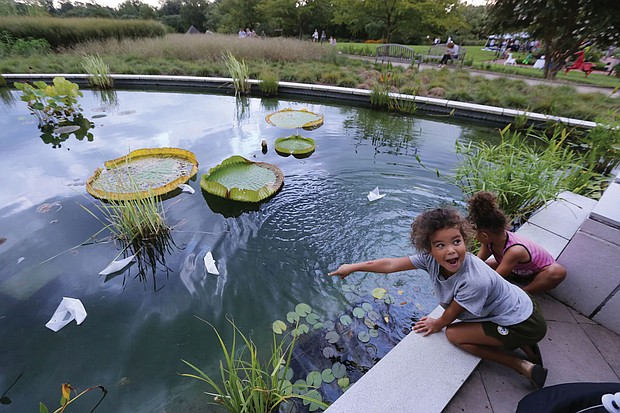 Devon Bryant, 5, left, and her 3-year-old sister, Myka, excitedly show their parents, Nora and Anthony Bryant, how their origami boats float on the lily pond at Lewis Ginter Botanical Garden in Henrico County. The family was enjoying the garden's flower-filled pathways Monday.