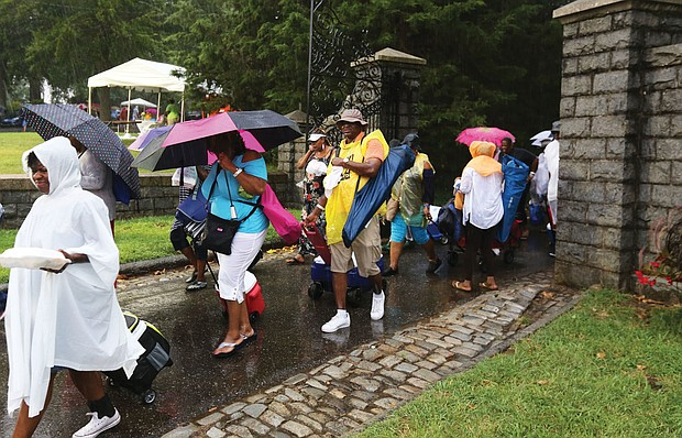 Music lovers stream out the Richmond Jazz Festival on Sunday when an early evening thunderstorm forced festival organizers to cancel the event with nine performers remaining on the schedule.