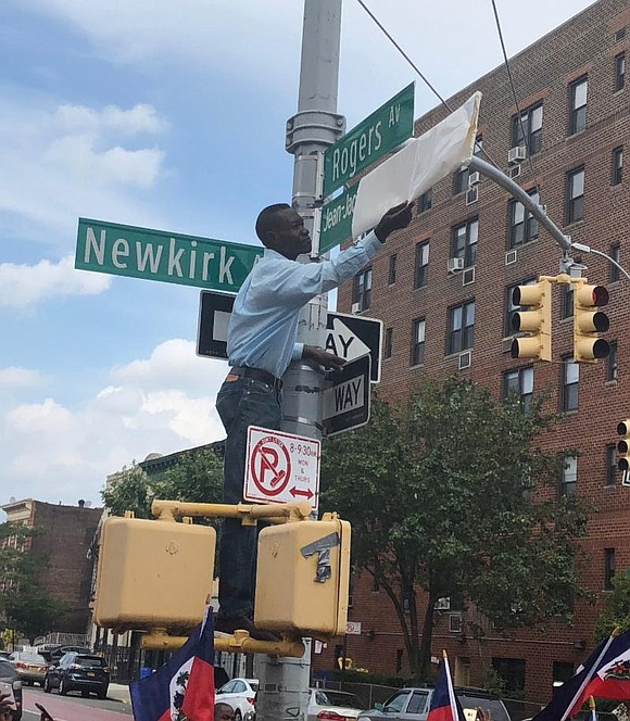 A street sign on Newkirk and Rogers avenues in East Flatbush, Brooklyn now bears the name of Haitian Revolution leader ...