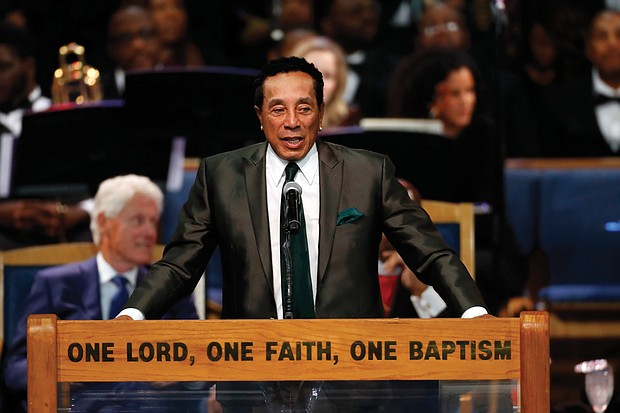 Motown singer Smokey Robinson, who has been Ms. Franklin's friend since childhood, crooned a short song after giving remarks.