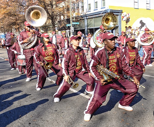 The Petersburg High School Marching Band performs in a holiday parade in 2015.