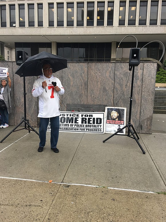 Social justice organization the People's Organization for Progress honored Colin Kaepernick during their weekly Justice Monday rally against police brutality ...