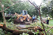 Crew members from the city Department of Public Works use chainsaws and heavy machinery to clean up downed trees and storm debris Tuesday along Lamont Street near Laburnum Avenue in North Side.