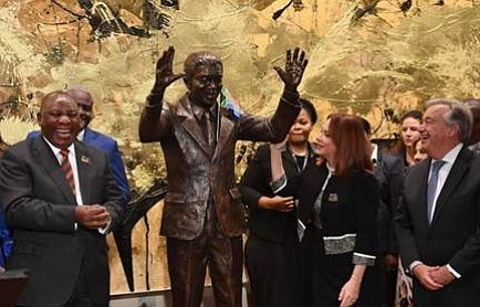 The statue is a gift to the United Nations from South Africa.