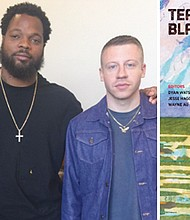 """NFL Pro Bowler Michael Bennett (center) and Grammy award-winning artist Macklemore (right) team up with editor Jesse Hagopian (left) to purchase copies of the book he co-edited """"Teaching for Black Lives"""" for free distribution to middle and high school teachers in the Pacific Northwest."""