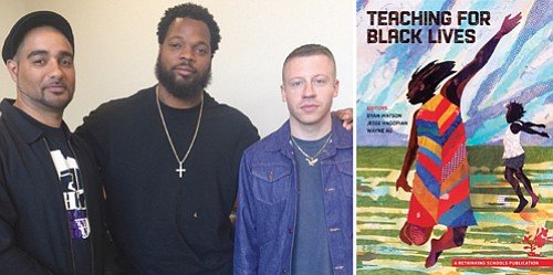 "NFL Pro Bowler Michael Bennett (center) and Grammy award-winning artist Macklemore (right) team up with editor Jesse Hagopian (left) to purchase copies of the book he co-edited ""Teaching for Black Lives"" for free distribution to middle and high school teachers in the Pacific Northwest."