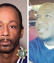 A police booking photo shows comedian Katt Williams (left) after his arrest for assault on a limo driver.  Markell Jones (right), was the victim of gun violence in a separate incident leaving the comedy show Williams was scheduled to perform but never made.