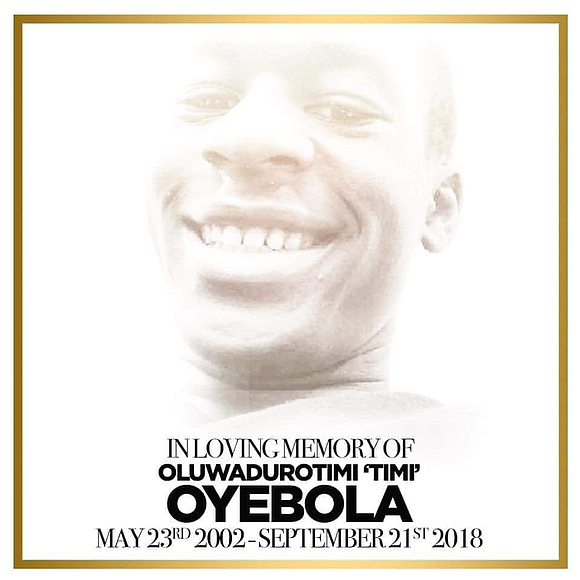 """The heartbreak and pain was palpable at the wake and funeral of 16-year-old Oluwadurotimi """"Timi"""" Oyebola, who was shot and ..."""