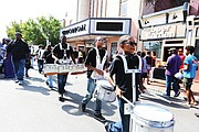 The L. Douglas Wilder Middle School Drumline at the 2nd Street Festival. (Regina H. Boone/Richmond Free Press)