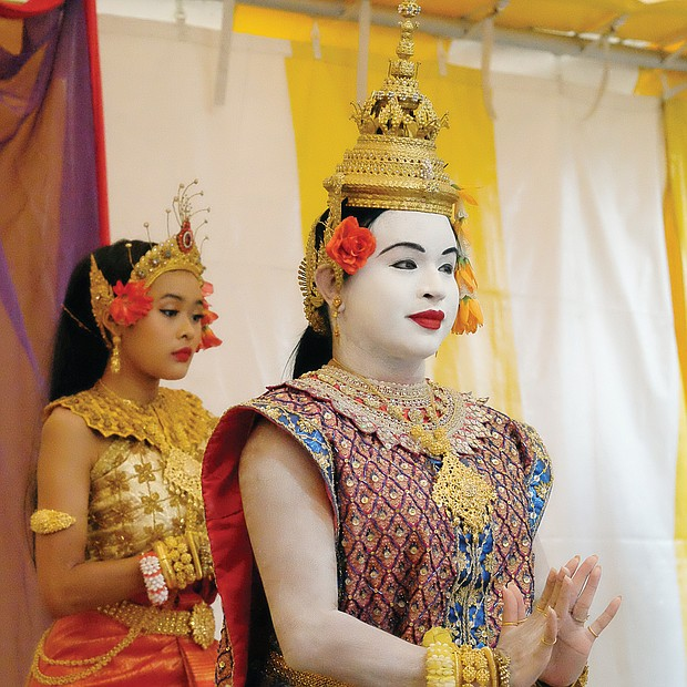 Dancers perform during a presentation on Cambodian costumes during the Richmond Folk Festival. (Sandra Sellars/Richmond Free Press)