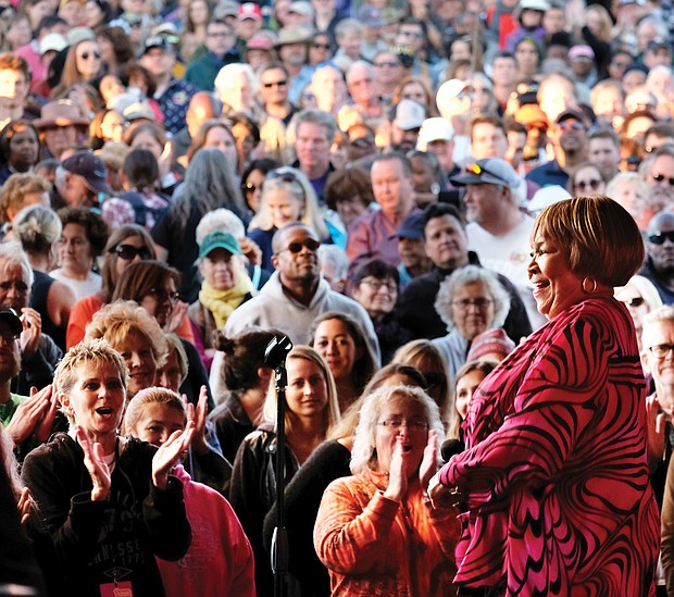 Gospel and R&B legend Mavis Staples, right, was among the headliners on Saturday at the Richmond Folk Festival. (Sandra Sellars/Richmond Free Press)