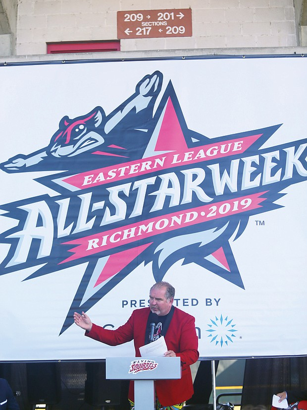 """Todd """"Parney"""" Parnell, vice president and chief operating officer for the Richmond Flying Squirrels, makes the big announcement Tuesday at The Diamond."""