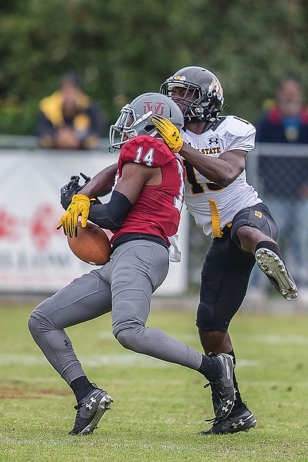 Virginia Union University sophomore Bryan Epps nearly picks off the ball from Bowie State University during last Saturday's hard-fought game at Hovey Field.