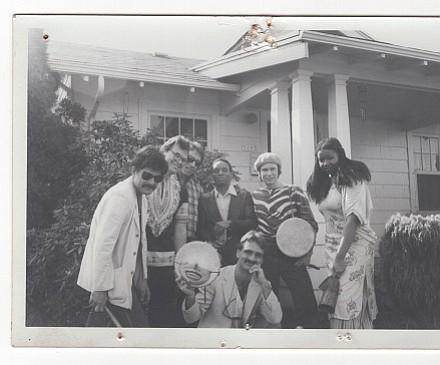 Ela at Carol Yarrow's House. From left: Nick Gefroh, William Thomas, Richard Burdell, Lester McFarland, Scott Wardinsky, Al Nohlgren, Janice Scroggins.