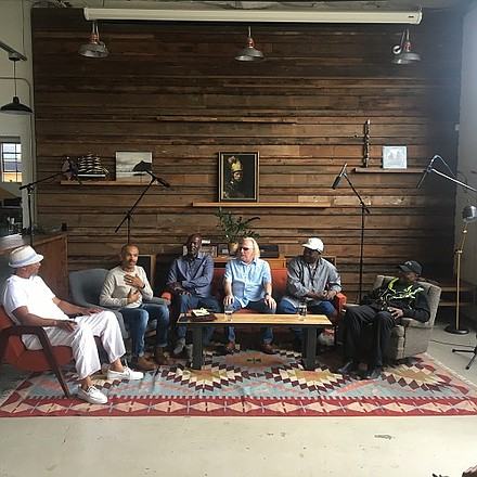 A celebration of Albina's once prominent soul music scene will feature musical acts from the 1970s performing rare original songs. Members of The Gangsters will release a never-before-heard album from that era. Pictured are members of the jazz-funk group, The Gangsters, giving an oral history of their band at Marmoset Music in May. From left: Lester Cooke, Calvin Walker, Jimmy Sanders, Rob Manning, Ural Thomas, Phillip Wilborn.