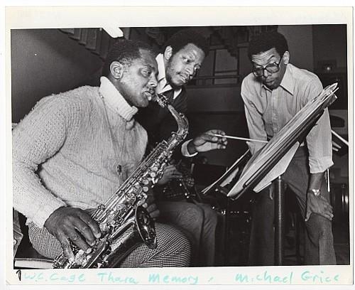 W.C. Cage (left), Thara Memory, and Michael Grice at CIvic Auditorium (now called Keller Auditorium), 1981.