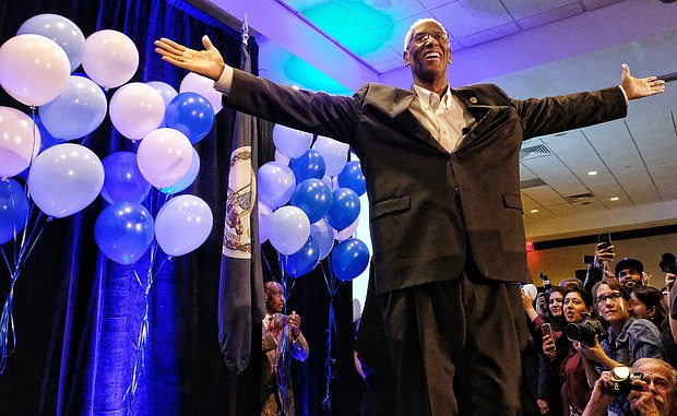 Congressman A. Donald McEachin, a Henrico Democrat, celebrates his re-election to the 4th District seat in the U.S. House of Representatives at a joint victory party with Ms. Spanberger Tuesday night at a Henrico County hotel. He defeated Republican challenger Ryan A. McAdams and Libertarian candidate Peter Wells.