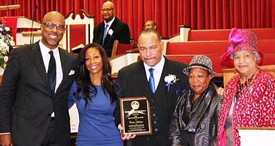 "William ""Carlos"" Hutchins, well-known promoter was recently voted ""Man of the Year"" at the Rising Sun First Baptist Church. L/r Pastor Engel D. Burns, First Lady Candice Burns, Carlos Hutchins, his wife Patsy Hutchins and Senior First Lady Earleen Poe Burns. Congratulations little brother."