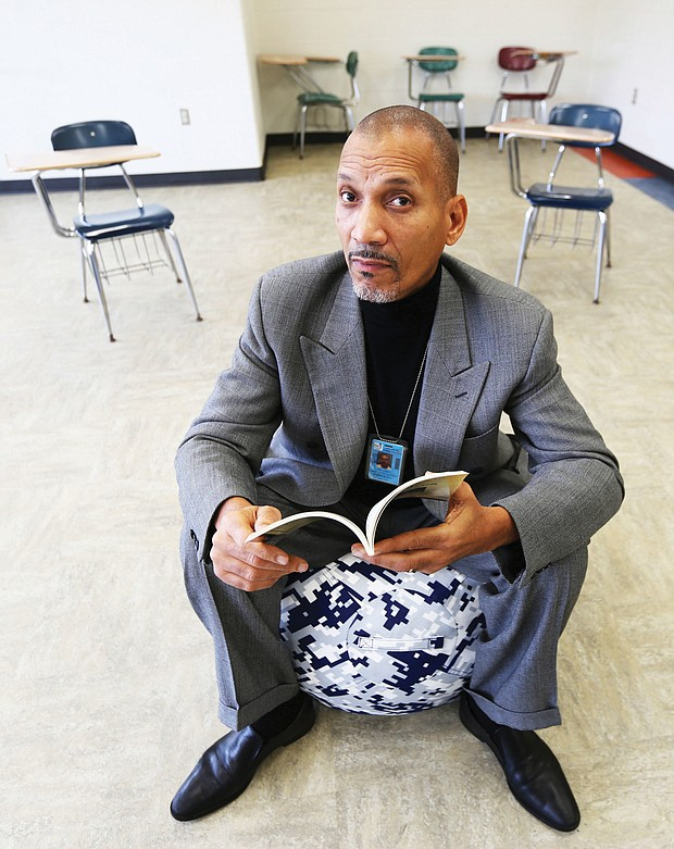Dr. Ram Bhagat sits in the Restorative Practices Room at Martin Luther King Jr. Middle School that will be used for in-school suspension students to work with trained staff to better handle conflicts.