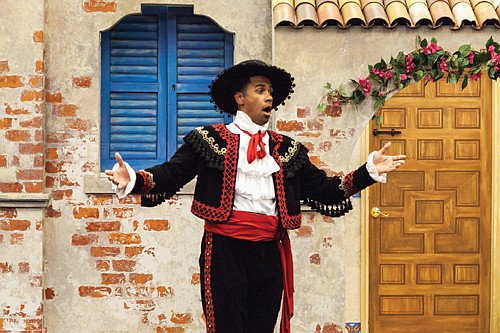Jorge-Phillipe Belonni Rosario as Figaro in Portland Opera to Go's production of The Barber of Seville.