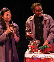 Barbie Wu (left) and Andrea Vernae star in Artists Reperatory Theatre's production of 'Everybody,' a soul searching comedy and haunting riff where the participants fight to cheat death in the company of their friends and loved ones.