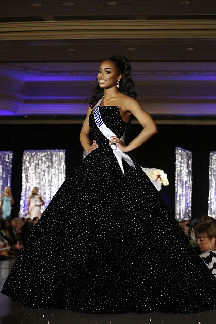 Kennedy competing in the evening gown competition at the 2019 Miss Texas Teen USA.  Photo by Select Studios