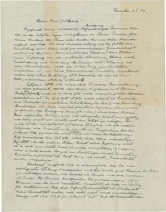 A handwritten 1954 letter by physicist Albert Einstein in which the Nobel laureate is dismissive of religion in general and ...