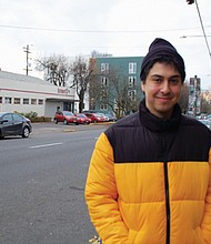 James Curry, 24, is an organizer for the Burgerville Workers' Union, which recently got its third Portland area Burgerville restaurant to become federally recognized as a union shop allowing workers to bargain collectively for wages and working conditions, making Burgerville the only fast food chain in the nation to have unionized employees.