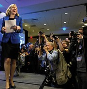 Democrat Abigail Spanberger of Henrico heads to the podium on Election Night in November to claim a razor-thin victory in the 7th Congressional District contest against incumbent GOP Rep. Dave Brat.