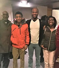 """At the opening night of """"Red Velvet"""" at the Chesapeake Shakespeare Company, Director Basfield Dunlap (far right), poses with Kimberly Moffitt, Moffitt's family, and Christian Gibbs (center), an actor performing the lead role of Ira Aldridge."""