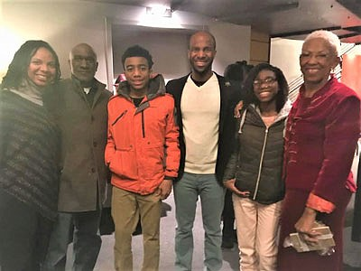 "At the opening night of ""Red Velvet"" at the Chesapeake Shakespeare Company, Director Basfield Dunlap (far right), poses with Kimberly Moffitt, Moffitt's family, and Christian Gibbs (center), an actor performing the lead role of Ira Aldridge."