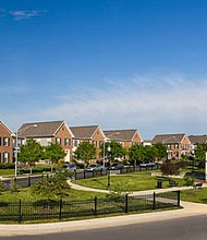 Rendering of The Heritage Crossing neighborhood which will include 75 rental townhomes and 185 for-sale townhomes.