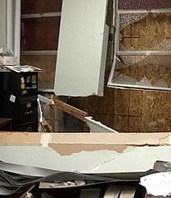 A photo from KPTV shows the damage to the Highland Christian Center church office on Northeast Glisan Street.
