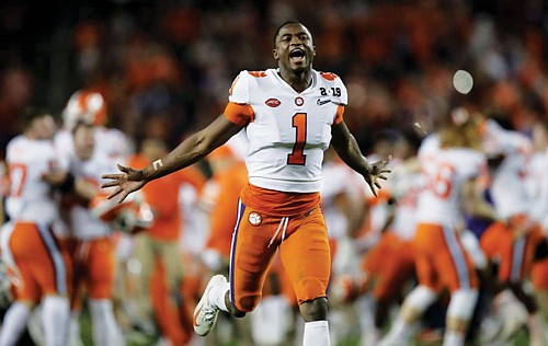 Clemson's Trayvon Mullen celebrates after the NCAA college football playoff championship game against Alabama, Monday in Santa Clara, Calif. Clemson beat Alabama 44-16.  (AP photo)