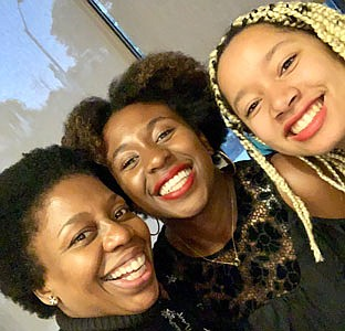 Members of the Carmen Youth Council, (left to right) Edima Essien, Jade Underwood and Christein Wills.