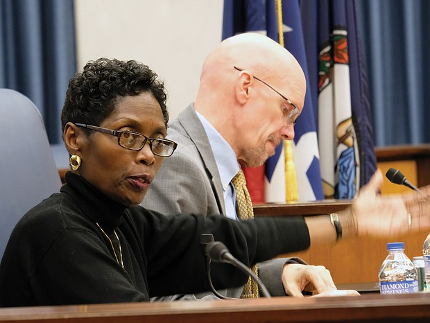Richmond City Councilwoman Cynthia I. Newbille, 7th District, makes a point Monday after being elected president of Richmond's governing body.