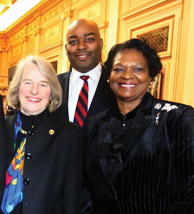 New year, new session: Three members of Richmond's House delegation, Betsy B. Carr, Lamont Bagby and Delores L. McQuinn, pause for a photo. (Regina H. Boone/Richmond Free Press)