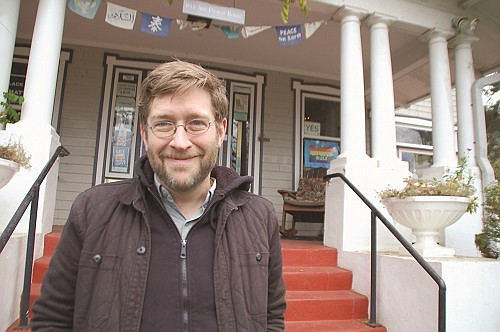 Rev. Michael Ellick at The Peace House at 2116 NE 18th Ave, which is an ecumenical community of faith. Ellick was one of the faith leaders who was willing to get arrested for a cause in a series of civil disobedience actions against the federal Immigrant and Customs Enforcement office in Portland.