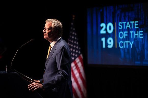 New York City Mayor Bill de Blasio went all the way progressive during his State of the City address last ...