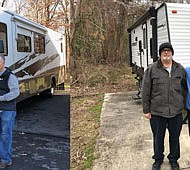 (Right) James Brown (middle), an 84-year-old Korean War veteran who had been living in his van since he was affected by Hurricane Florence with Scott Mallory (right), founder of the Anne Arundel County-based nonprofit, Truckin 4 Troops. Mallory delivered a camper to Brown, after a volunteer (left) helped to locate veterans like Brown who were in need of a clean safe place to live. (Left) Disabled veteran Gabriel Fernandez (left), whose home was destroyed in Hurricane Florence was helped to get into a motorhome with his family in October, thanks to Truckin 4 Troops. Leo's Vacation Center and Beckley's Camping Center were extremely helpful to the nonprofit in obtaining trailers at wholesale costs and by donating campers.